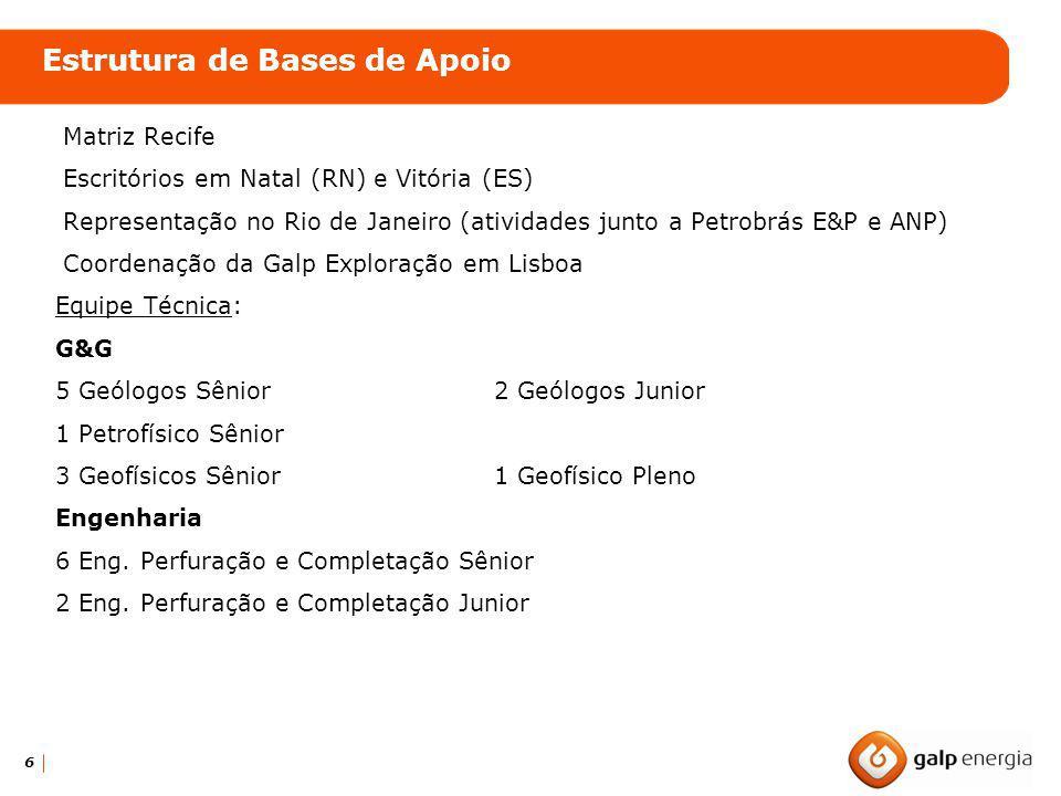 6 Matriz Recife Escritórios em Natal (RN) e Vitória (ES) Representação no Rio de Janeiro (atividades junto a Petrobrás E&P e ANP) Coordenação da Galp