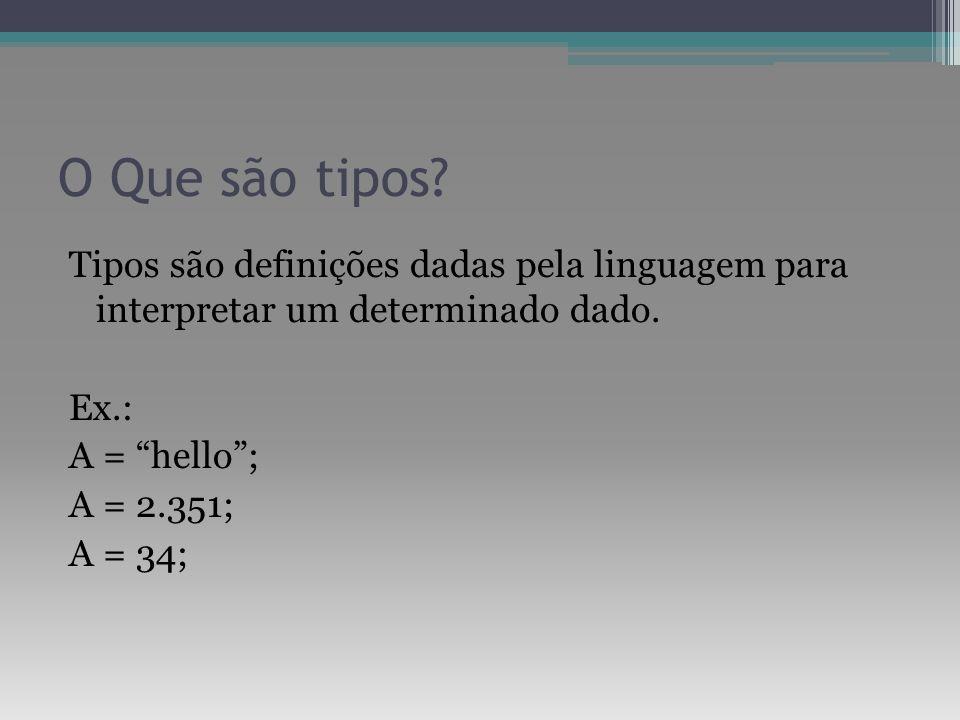 O Que são tipos? Tipos são definições dadas pela linguagem para interpretar um determinado dado. Ex.: A = hello; A = 2.351; A = 34;