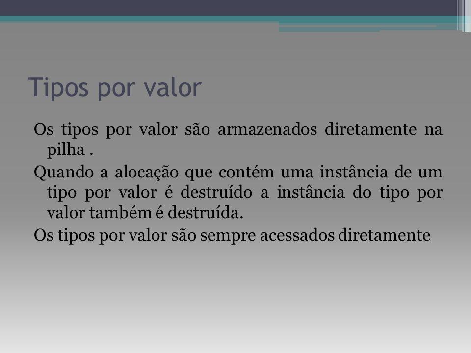 Tipos por valor Os tipos por valor são armazenados diretamente na pilha. Quando a alocação que contém uma instância de um tipo por valor é destruído a