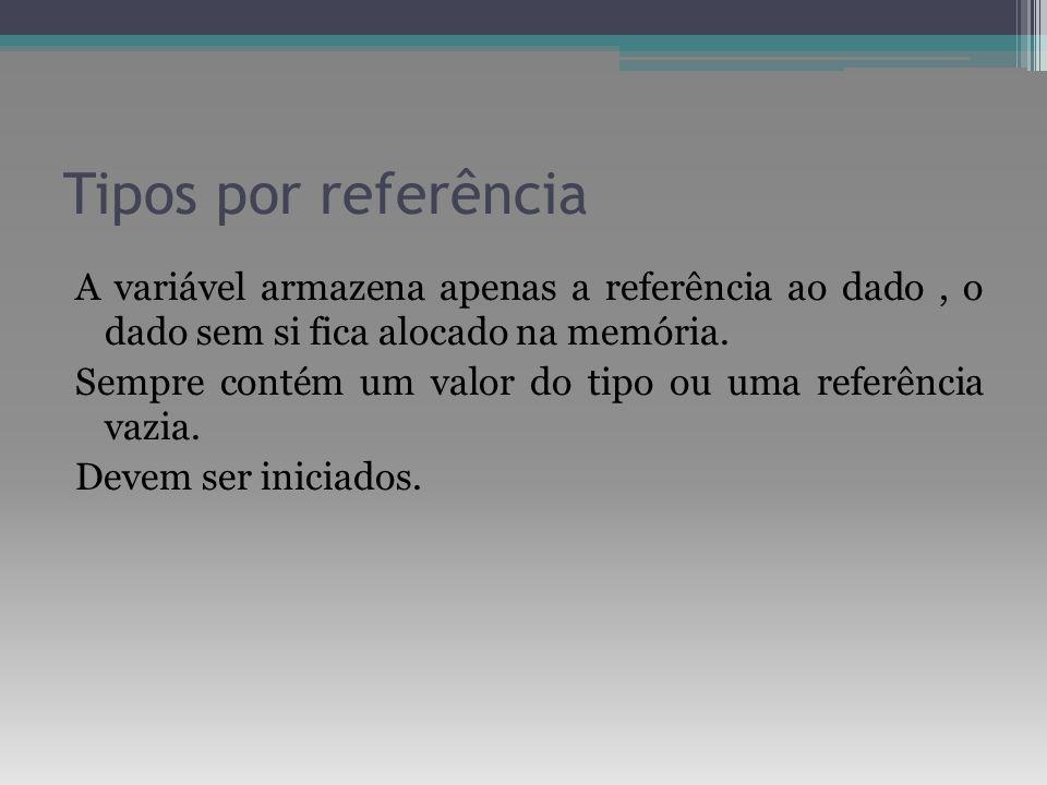 Tipos por referência A variável armazena apenas a referência ao dado, o dado sem si fica alocado na memória. Sempre contém um valor do tipo ou uma ref