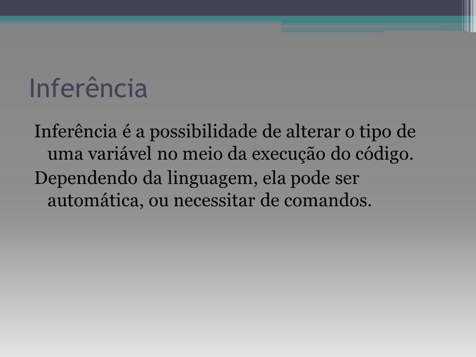Inferência Inferência é a possibilidade de alterar o tipo de uma variável no meio da execução do código. Dependendo da linguagem, ela pode ser automát