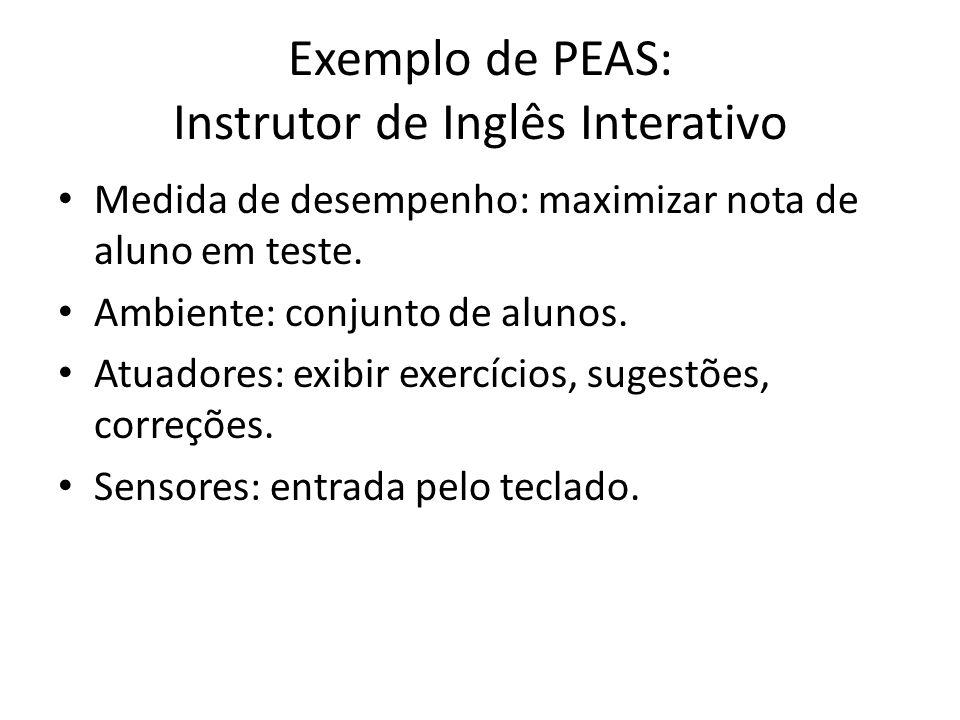 Exemplo de PEAS: Instrutor de Inglês Interativo Medida de desempenho: maximizar nota de aluno em teste.