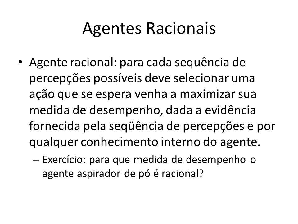 Agentes Racionais Agente racional: para cada sequência de percepções possíveis deve selecionar uma ação que se espera venha a maximizar sua medida de desempenho, dada a evidência fornecida pela seqüência de percepções e por qualquer conhecimento interno do agente.