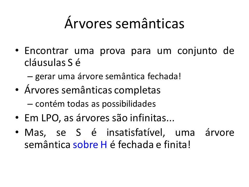Árvores semânticas Encontrar uma prova para um conjunto de cláusulas S é – gerar uma árvore semântica fechada! Árvores semânticas completas – contém t