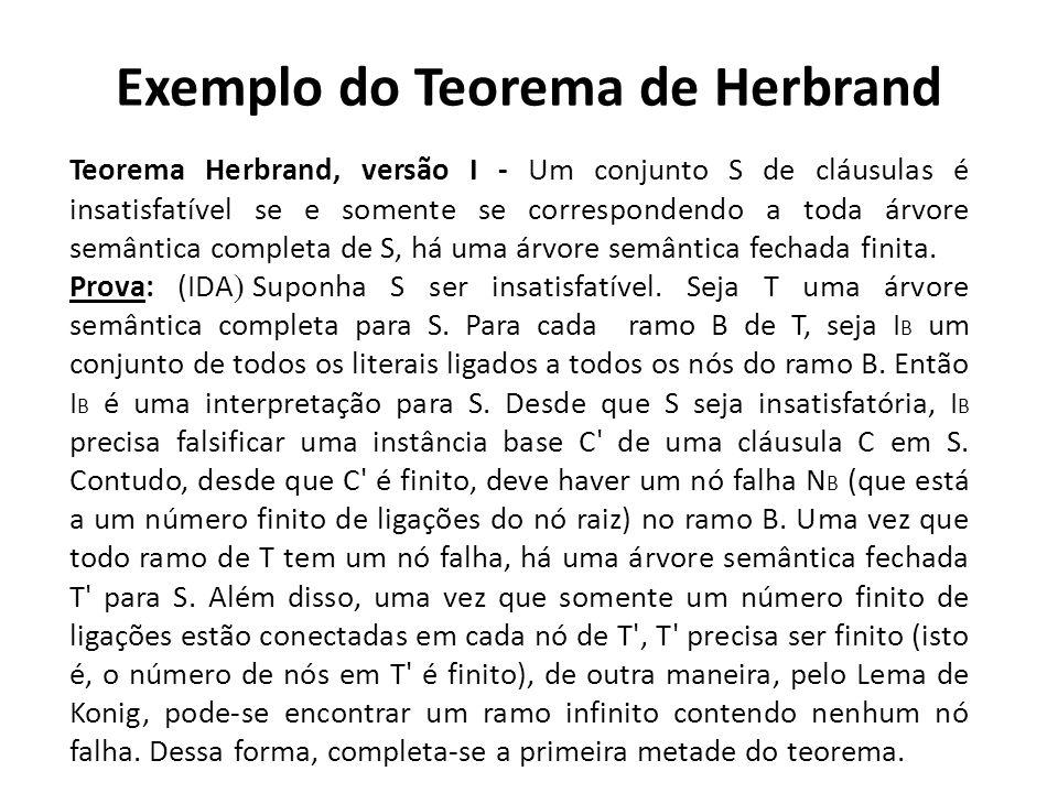 Exemplo do Teorema de Herbrand Teorema Herbrand, versão I - Um conjunto S de cláusulas é insatisfatível se e somente se correspondendo a toda árvore s