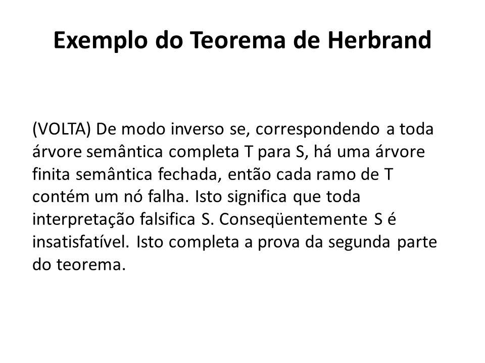 Exemplo do Teorema de Herbrand (VOLTA) De modo inverso se, correspondendo a toda árvore semântica completa T para S, há uma árvore finita semântica fe