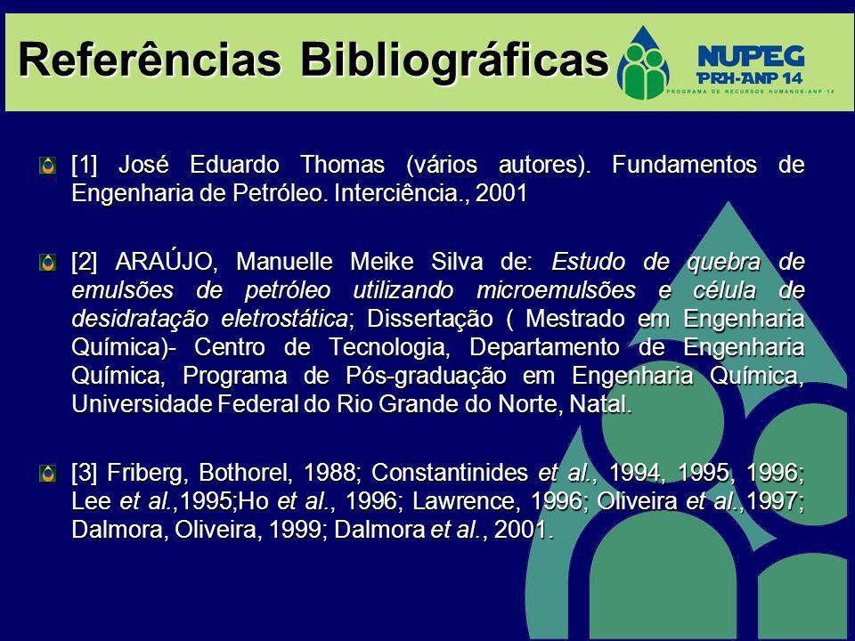Referências Bibliográficas [1] José Eduardo Thomas (vários autores). Fundamentos de Engenharia de Petróleo. Interciência., 2001 [2] ARAÚJO, Manuelle M