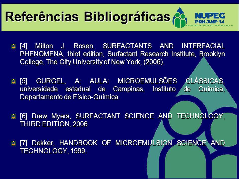 Referências Bibliográficas [4] Milton J. Rosen. SURFACTANTS AND INTERFACIAL PHENOMENA, third edition, Surfactant Research Institute, Brooklyn College,