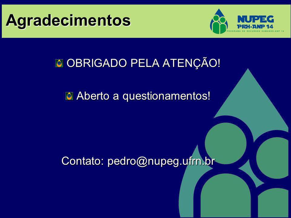 OBRIGADO PELA ATENÇÃO! Aberto a questionamentos! Contato: pedro@nupeg.ufrn.br Agradecimentos
