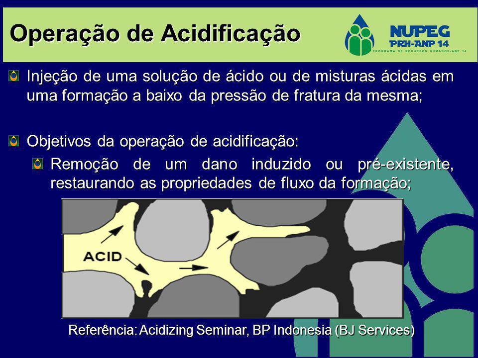 Operação de Acidificação Injeção de uma solução de ácido ou de misturas ácidas em uma formação a baixo da pressão de fratura da mesma; Objetivos da op