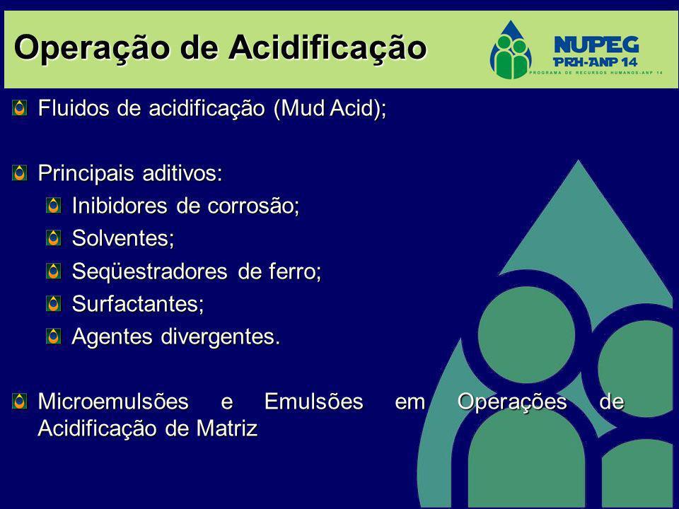 Operação de Acidificação Fluidos de acidificação (Mud Acid); Principais aditivos: Inibidores de corrosão; Solventes; Seqüestradores de ferro; Surfacta