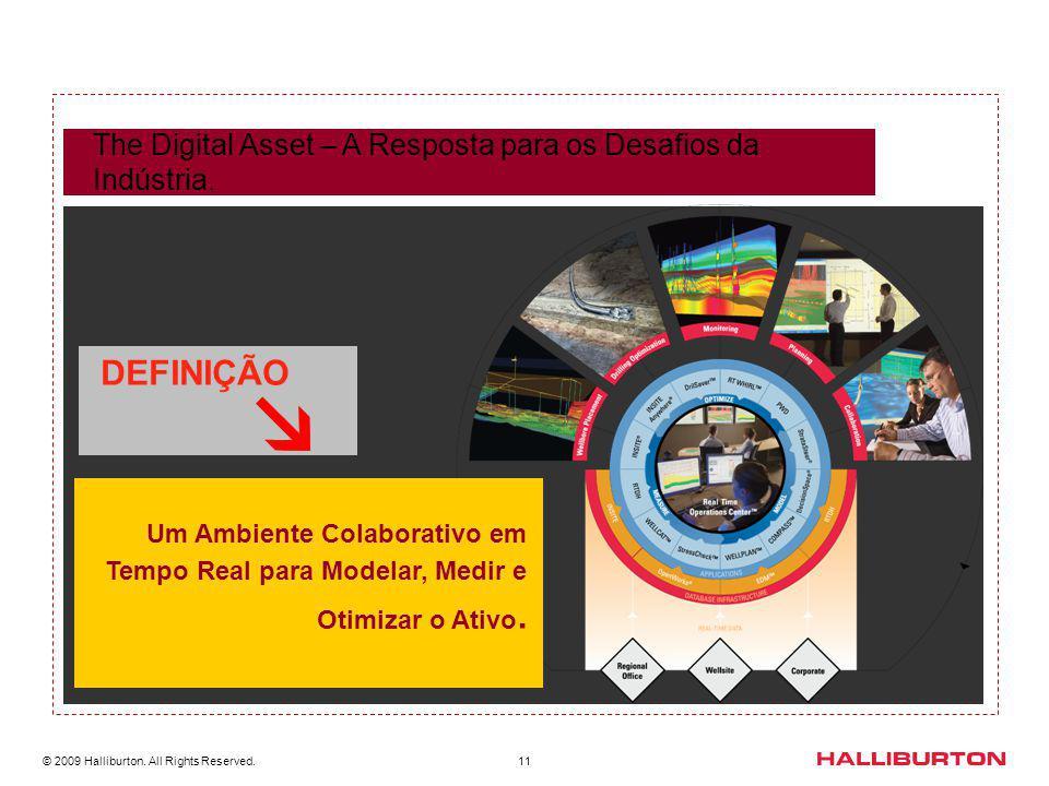 © 2009 Halliburton. All Rights Reserved. 11 The Digital Asset – A Resposta para os Desafios da Indústria. DEFINIÇÃO Um Ambiente Colaborativo em Tempo