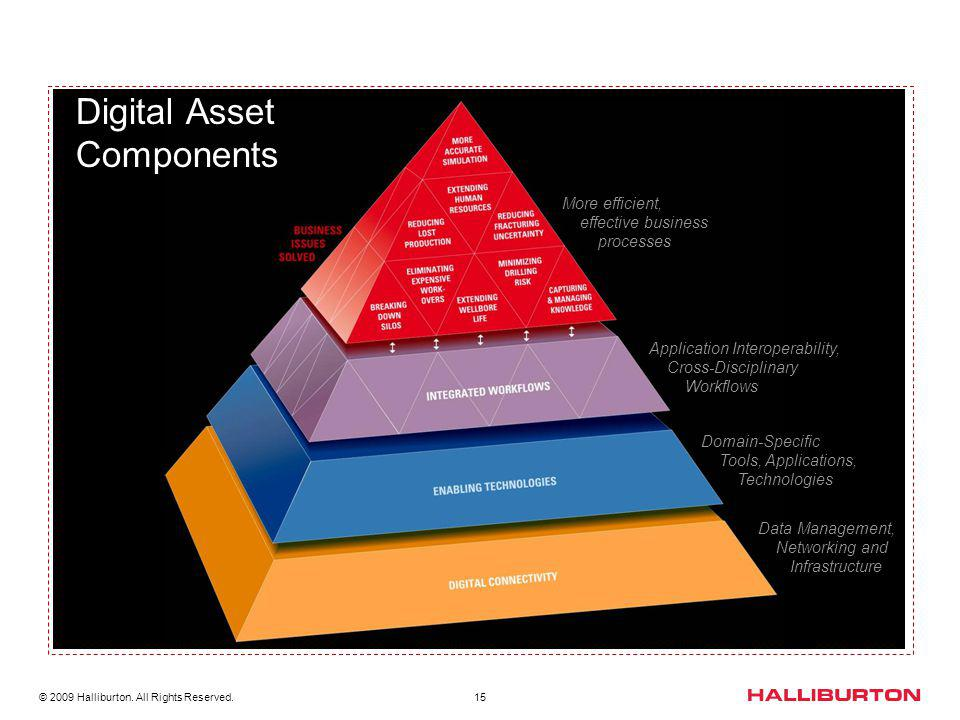 © 2009 Halliburton. All Rights Reserved. 15 Data Management, Networking and Infrastructure Domain-Specific Tools, Applications, Technologies More effi