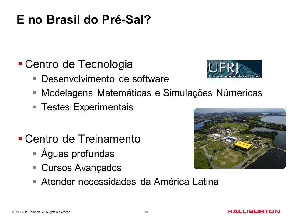 © 2009 Halliburton. All Rights Reserved. 20 E no Brasil do Pré-Sal? Centro de Tecnologia Desenvolvimento de software Modelagens Matemáticas e Simulaçõ