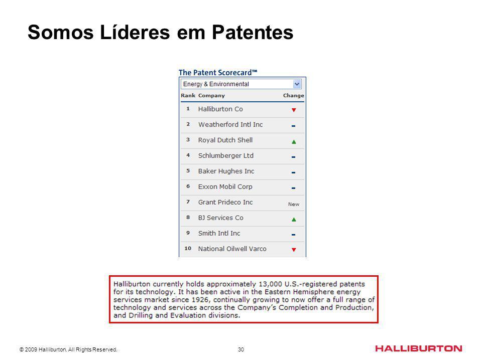 © 2009 Halliburton. All Rights Reserved. 30 HALLIBURTON - LÍDER EM PATENTES Somos Líderes em Patentes
