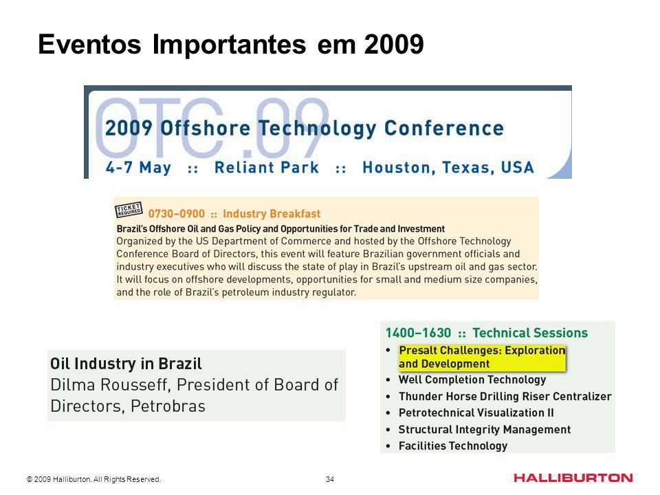 © 2009 Halliburton. All Rights Reserved. 34 Eventos Importantes em 2009