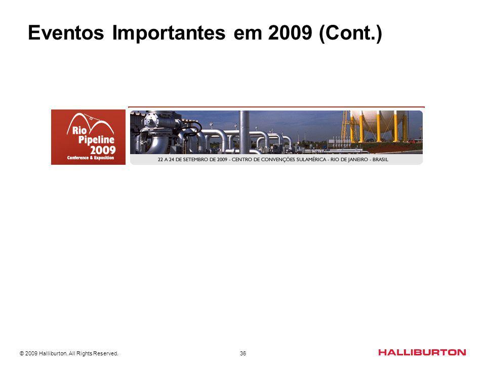 © 2009 Halliburton. All Rights Reserved. 36 Eventos Importantes em 2009 (Cont.)