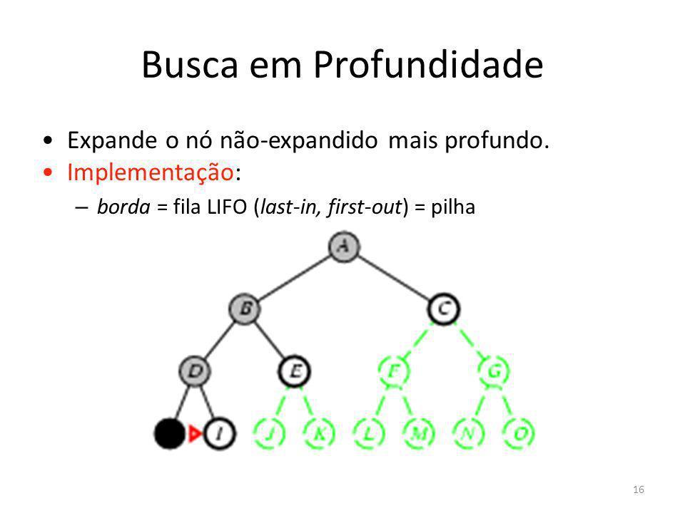 Busca em Profundidade Expande o nó não-expandido mais profundo. Implementação: – borda = fila LIFO (last-in, first-out) = pilha 16