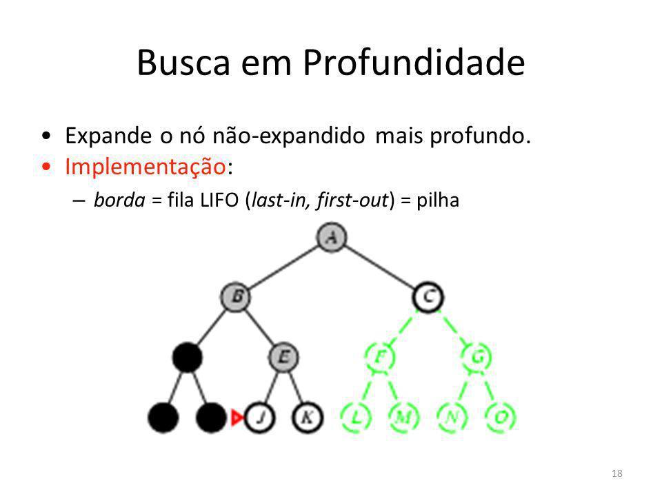 Busca em Profundidade Expande o nó não-expandido mais profundo. Implementação: – borda = fila LIFO (last-in, first-out) = pilha 18