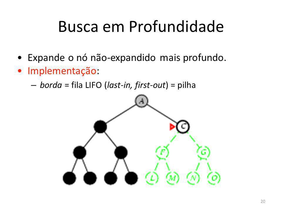 Busca em Profundidade Expande o nó não-expandido mais profundo. Implementação: – borda = fila LIFO (last-in, first-out) = pilha 20