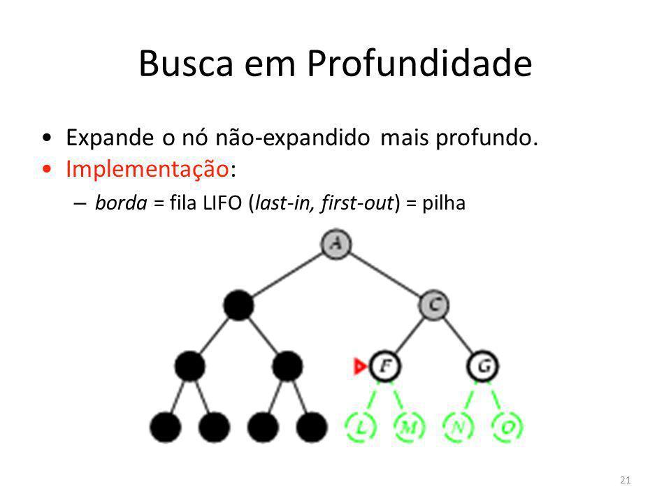 Busca em Profundidade Expande o nó não-expandido mais profundo. Implementação: – borda = fila LIFO (last-in, first-out) = pilha 21