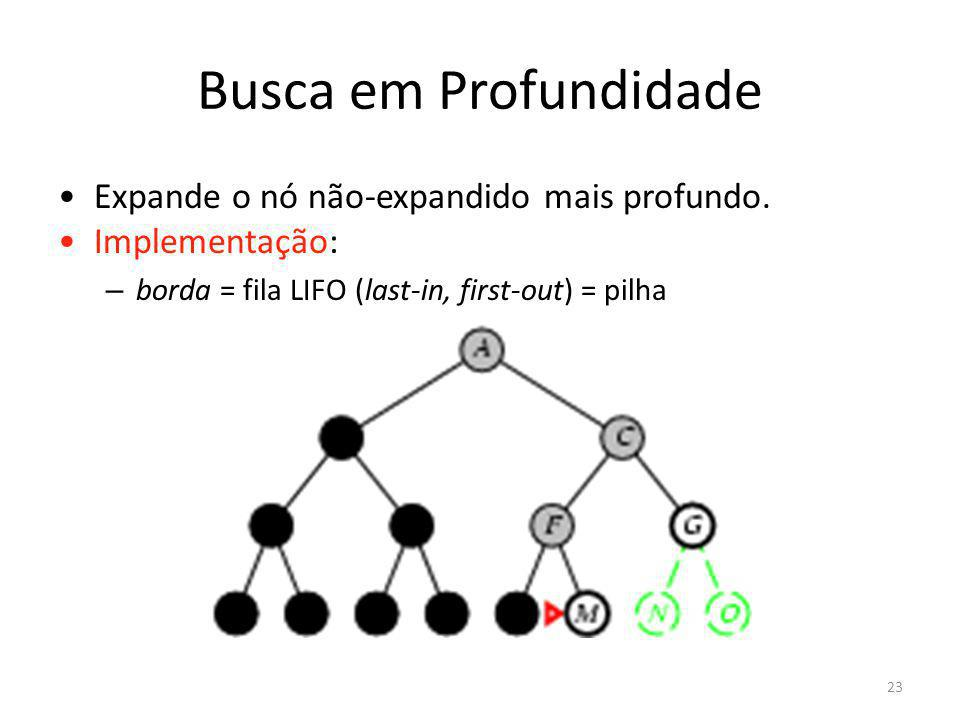 Busca em Profundidade Expande o nó não-expandido mais profundo. Implementação: – borda = fila LIFO (last-in, first-out) = pilha 23