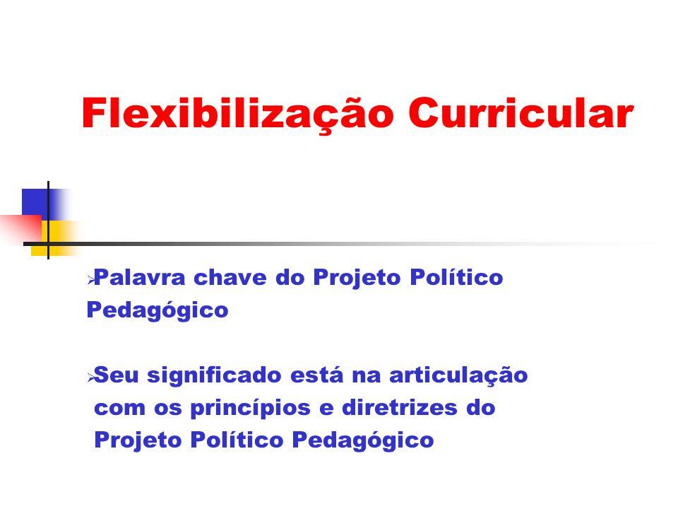 Flexibilização Curricular Palavra chave do Projeto Político Pedagógico Seu significado está na articulação com os princípios e diretrizes do Projeto Político Pedagógico