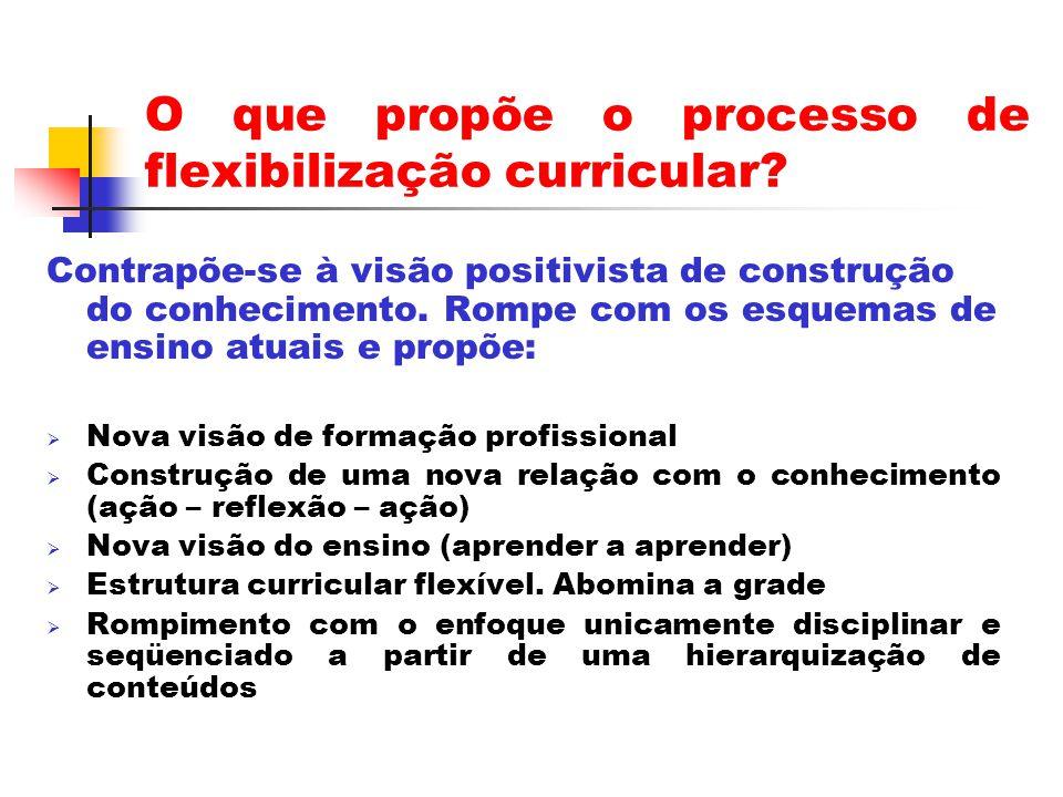 O que propõe o processo de flexibilização curricular.