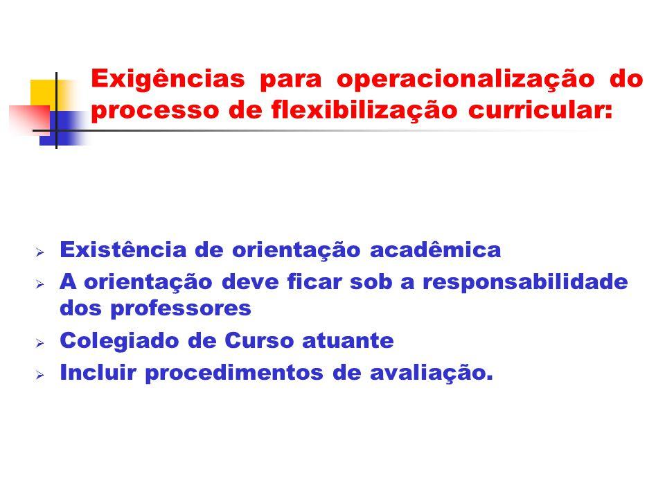 Exigências para operacionalização do processo de flexibilização curricular: Existência de orientação acadêmica A orientação deve ficar sob a responsabilidade dos professores Colegiado de Curso atuante Incluir procedimentos de avaliação.