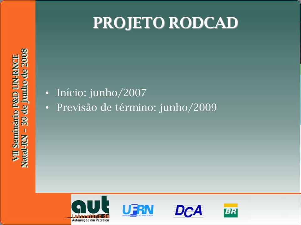 VII Seminário P&D UN-RNCE Natal-RN – 30 de junho de 2008 VII Seminário P&D UN-RNCE Natal-RN – 30 de junho de 2008 PROJETO RODCAD Início: junho/2007 Previsão de término: junho/2009