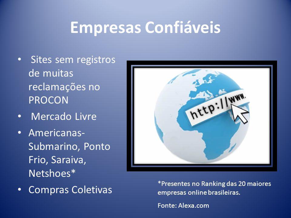 Empresas Confiáveis Sites sem registros de muitas reclamações no PROCON Mercado Livre Americanas- Submarino, Ponto Frio, Saraiva, Netshoes* Compras Coletivas *Presentes no Ranking das 20 maiores empresas online brasileiras.