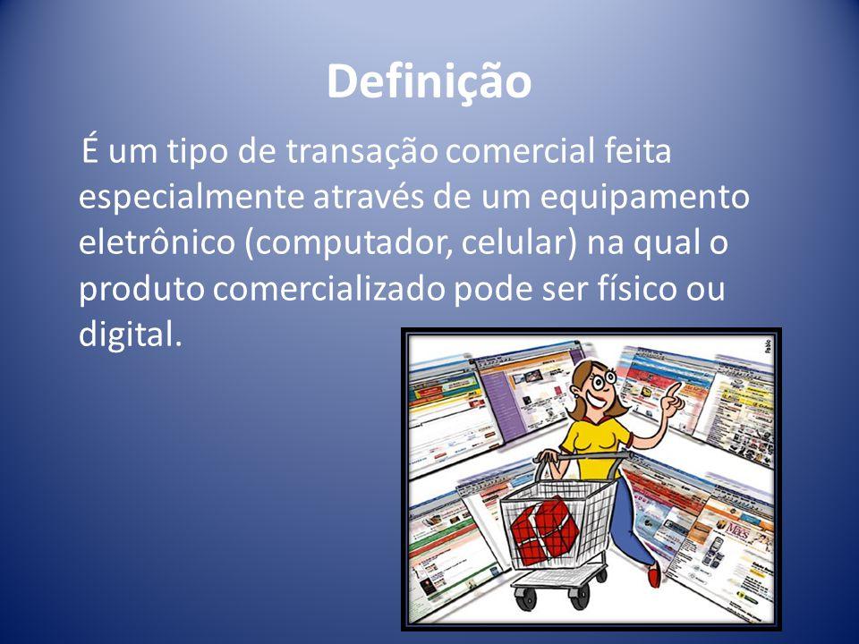 Definição É um tipo de transação comercial feita especialmente através de um equipamento eletrônico (computador, celular) na qual o produto comercializado pode ser físico ou digital.