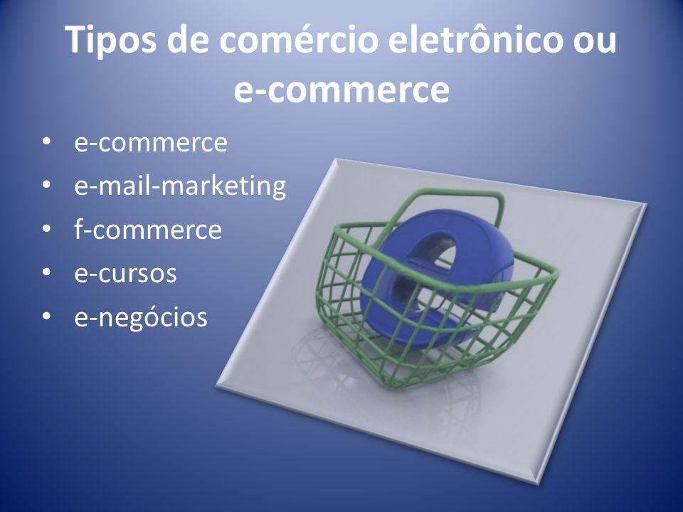 Tipos de comércio eletrônico ou e-commerce e-commerce e-mail-marketing f-commerce e-cursos e-negócios