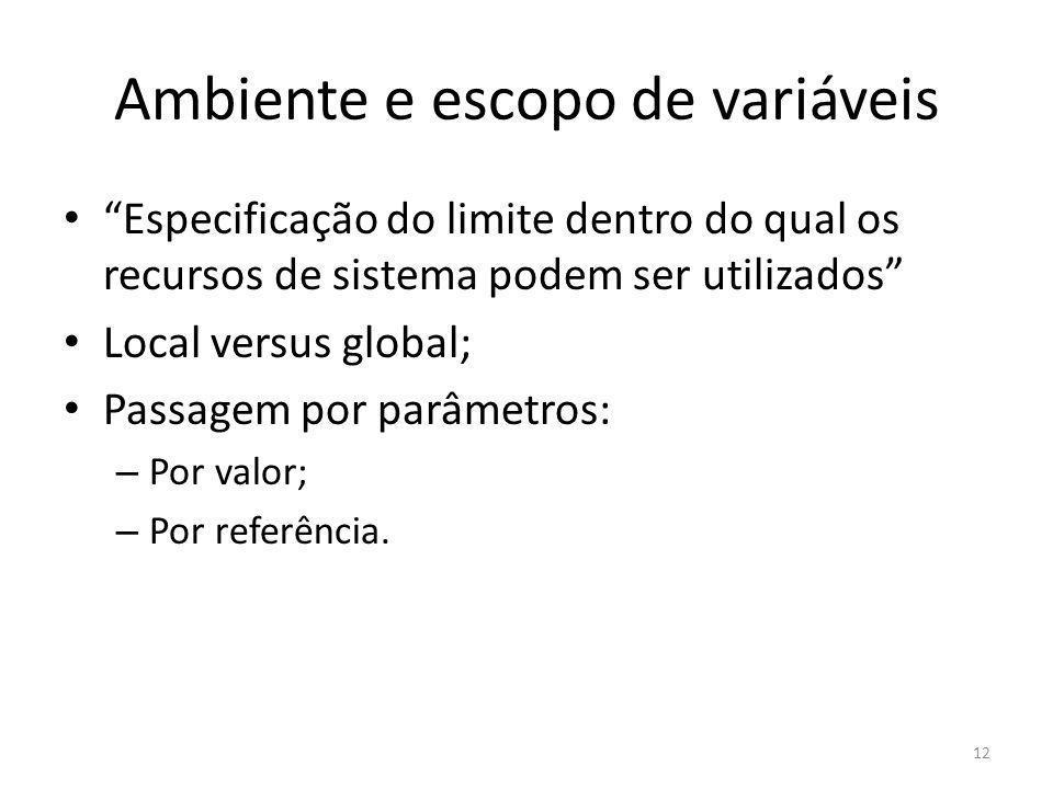 Ambiente e escopo de variáveis Especificação do limite dentro do qual os recursos de sistema podem ser utilizados Local versus global; Passagem por pa