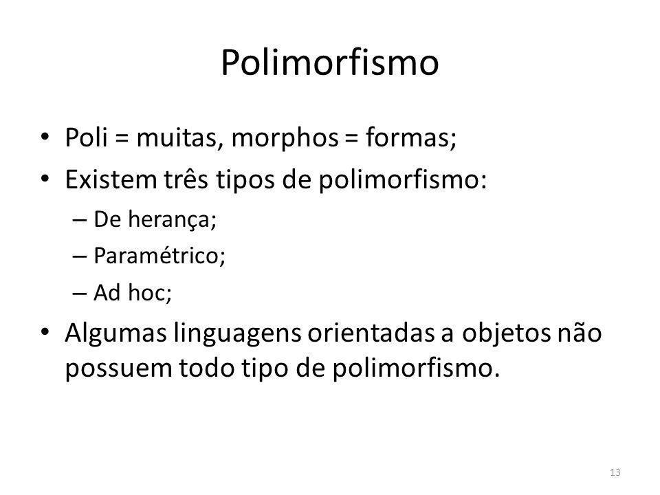 Polimorfismo Poli = muitas, morphos = formas; Existem três tipos de polimorfismo: – De herança; – Paramétrico; – Ad hoc; Algumas linguagens orientadas