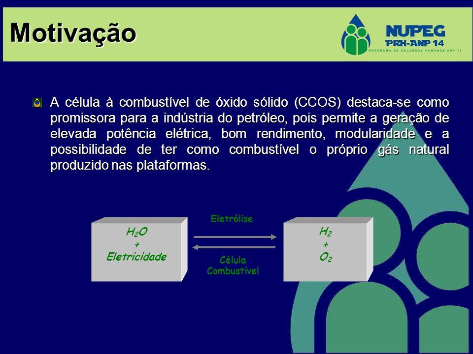 Motivação A célula à combustível de óxido sólido (CCOS) destaca-se como promissora para a indústria do petróleo, pois permite a geração de elevada pot