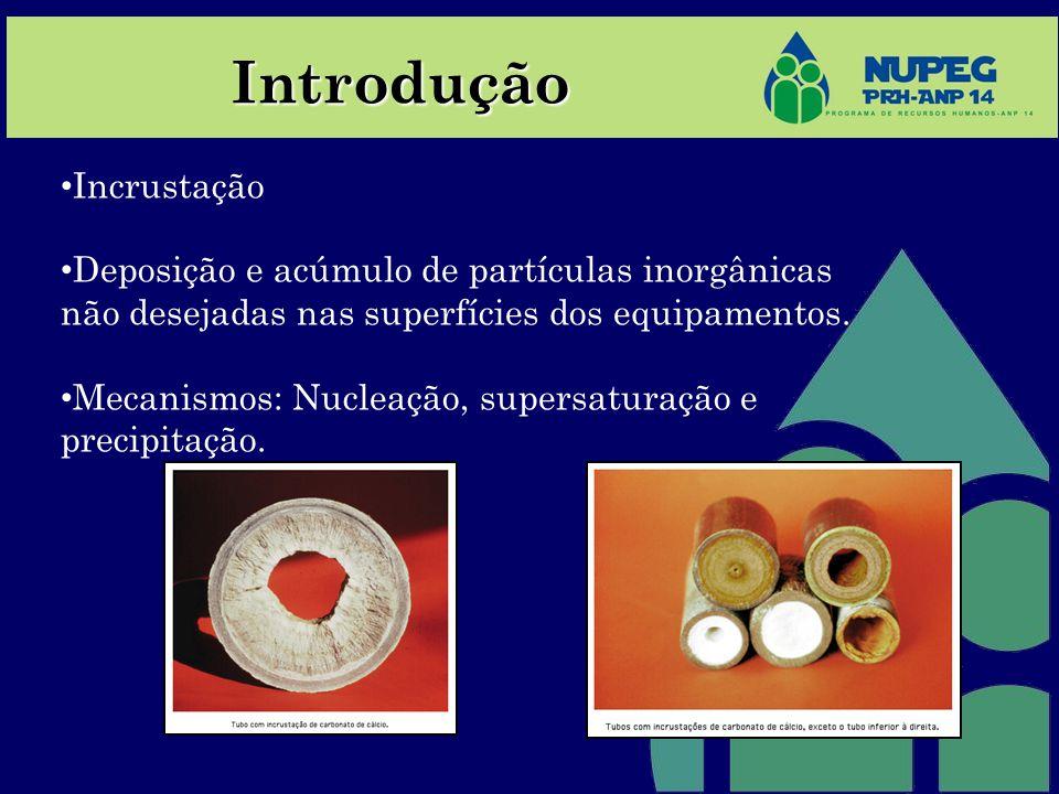 Incrustação Deposição e acúmulo de partículas inorgânicas não desejadas nas superfícies dos equipamentos. Mecanismos: Nucleação, supersaturação e prec