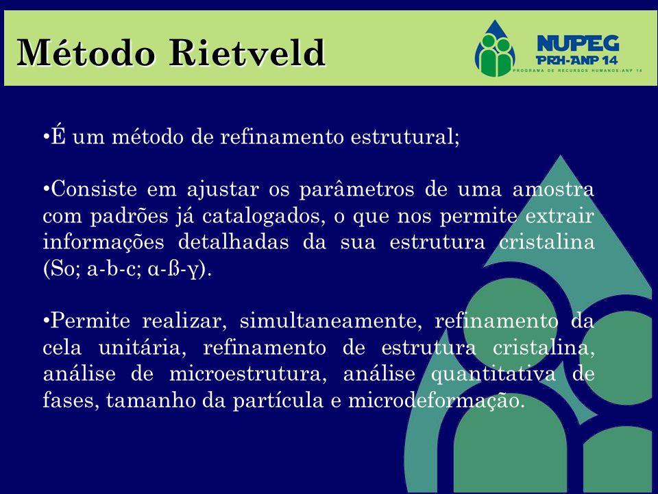 Método Rietveld É um método de refinamento estrutural; Consiste em ajustar os parâmetros de uma amostra com padrões já catalogados, o que nos permite