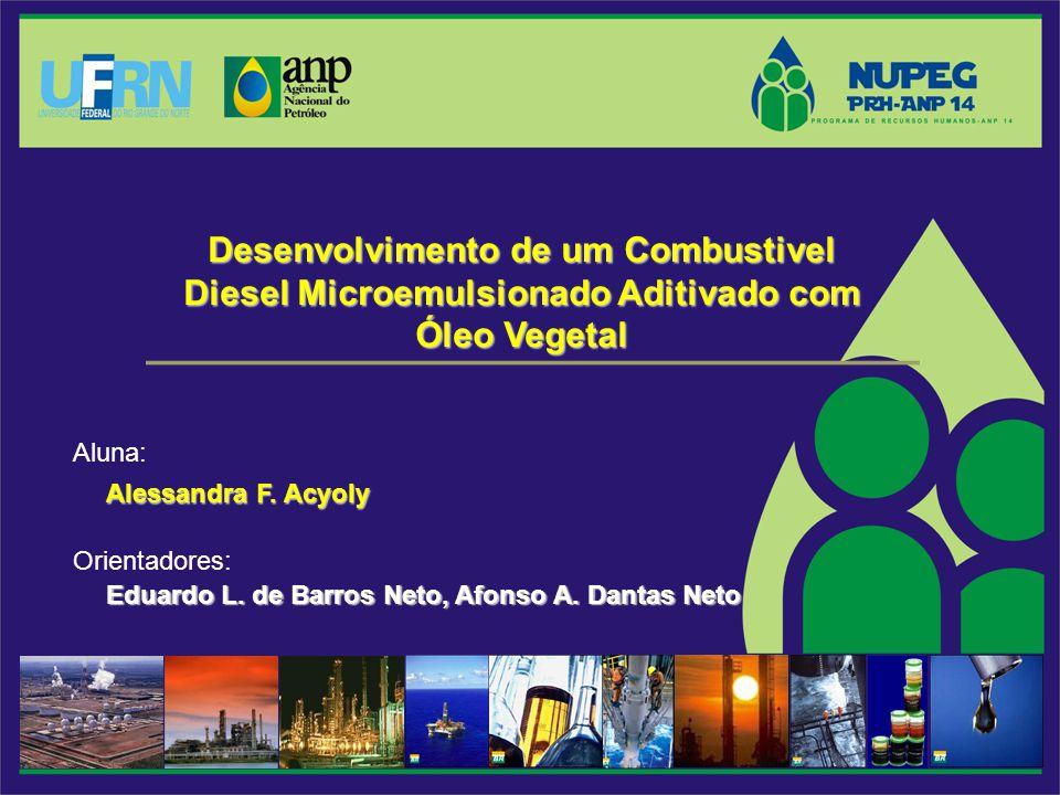 Desenvolvimento de um Combustivel Diesel Microemulsionado Aditivado com Óleo Vegetal Alessandra F. Acyoly Alessandra F. Acyoly Aluna: Eduardo L. de Ba