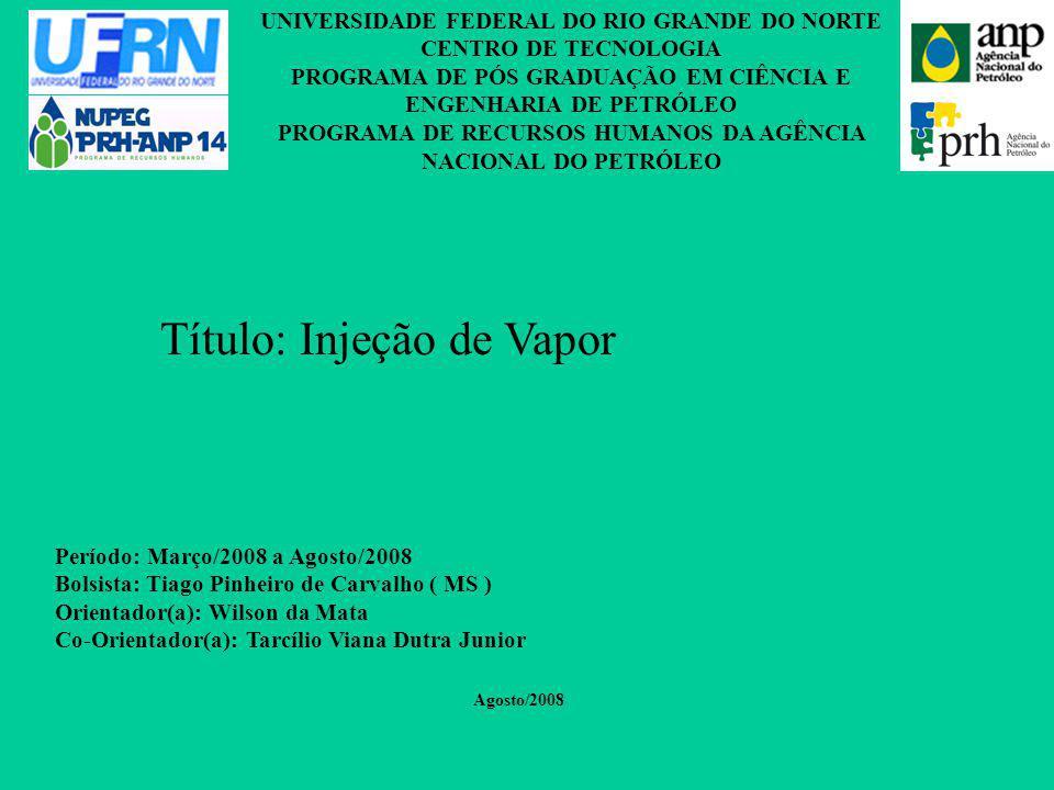 UNIVERSIDADE FEDERAL DO RIO GRANDE DO NORTE CENTRO DE TECNOLOGIA PROGRAMA DE PÓS GRADUAÇÃO EM CIÊNCIA E ENGENHARIA DE PETRÓLEO PROGRAMA DE RECURSOS HUMANOS DA AGÊNCIA NACIONAL DO PETRÓLEO Período: Março/2008 a Agosto/2008 Bolsista: Tiago Pinheiro de Carvalho ( MS ) Orientador(a): Wilson da Mata Co-Orientador(a): Tarcílio Viana Dutra Junior Agosto/2008 Título: Injeção de Vapor