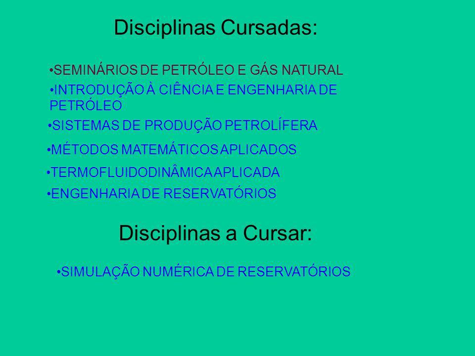 Disciplinas Cursadas: SEMINÁRIOS DE PETRÓLEO E GÁS NATURAL Disciplinas a Cursar: SIMULAÇÃO NUMÉRICA DE RESERVATÓRIOS INTRODUÇÃO À CIÊNCIA E ENGENHARIA DE PETRÓLEO SISTEMAS DE PRODUÇÃO PETROLÍFERA MÉTODOS MATEMÁTICOS APLICADOS TERMOFLUIDODINÂMICA APLICADA ENGENHARIA DE RESERVATÓRIOS