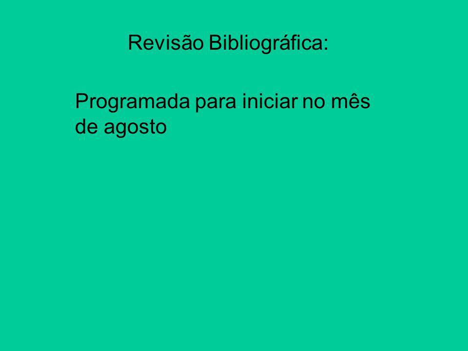 Revisão Bibliográfica: Programada para iniciar no mês de agosto