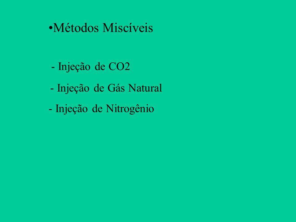 - Injeção de CO2 Métodos Miscíveis - Injeção de Gás Natural - Injeção de Nitrogênio