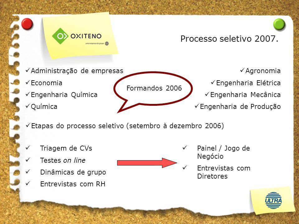 Etapas do processo seletivo (setembro à dezembro 2006) Painel / Jogo de Negócio Entrevistas com Diretores Agronomia Engenharia Elétrica Engenharia Mec