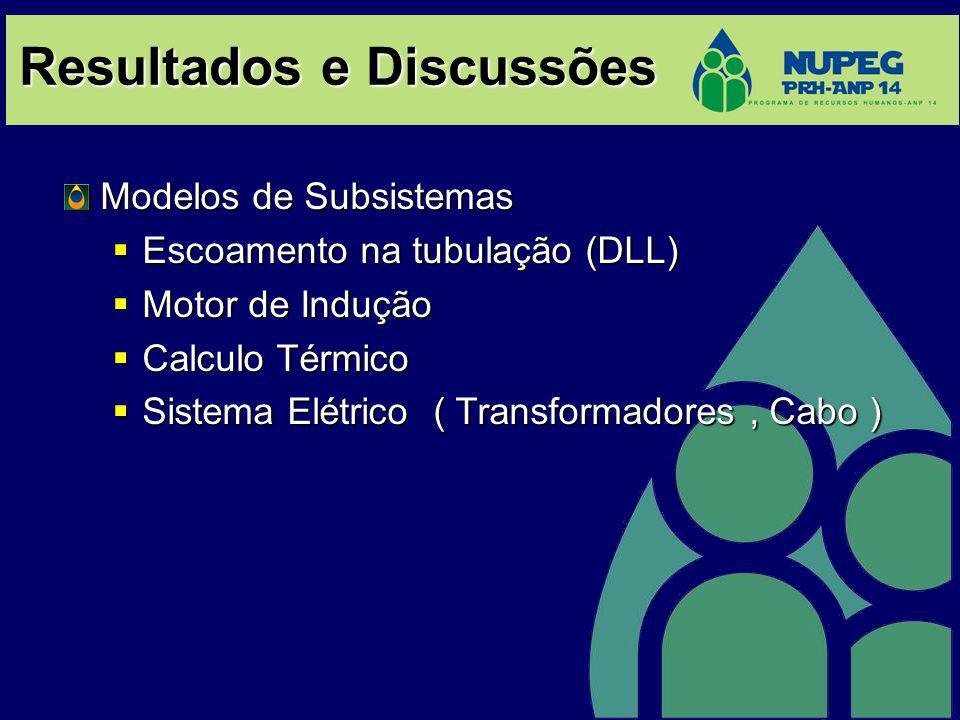 Resultados e Discussões Modelos de Subsistemas Escoamento na tubulação (DLL) Escoamento na tubulação (DLL) Motor de Indução Motor de Indução Calculo T