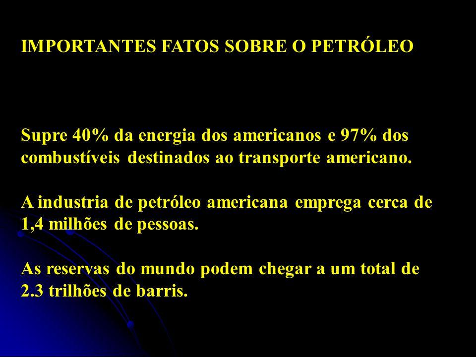 IMPORTANTES FATOS SOBRE O PETRÓLEO Supre 40% da energia dos americanos e 97% dos combustíveis destinados ao transporte americano. A industria de petró