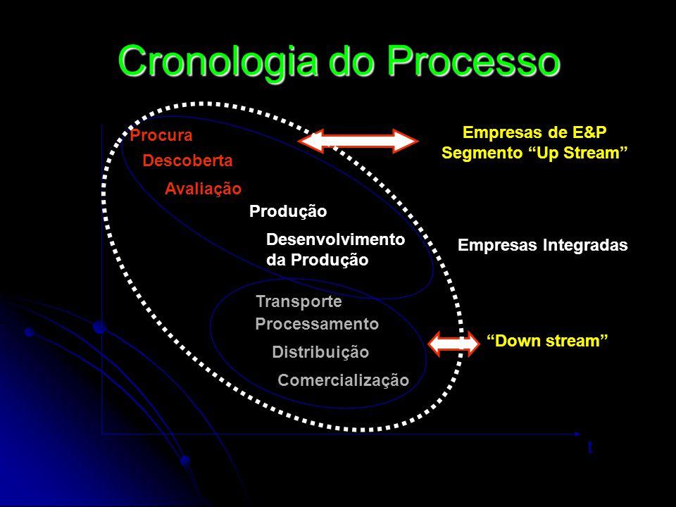 Cronologia do Processo t Procura Descoberta Avaliação Produção Desenvolvimento da Produção Transporte Processamento Distribuição Comercialização Empre