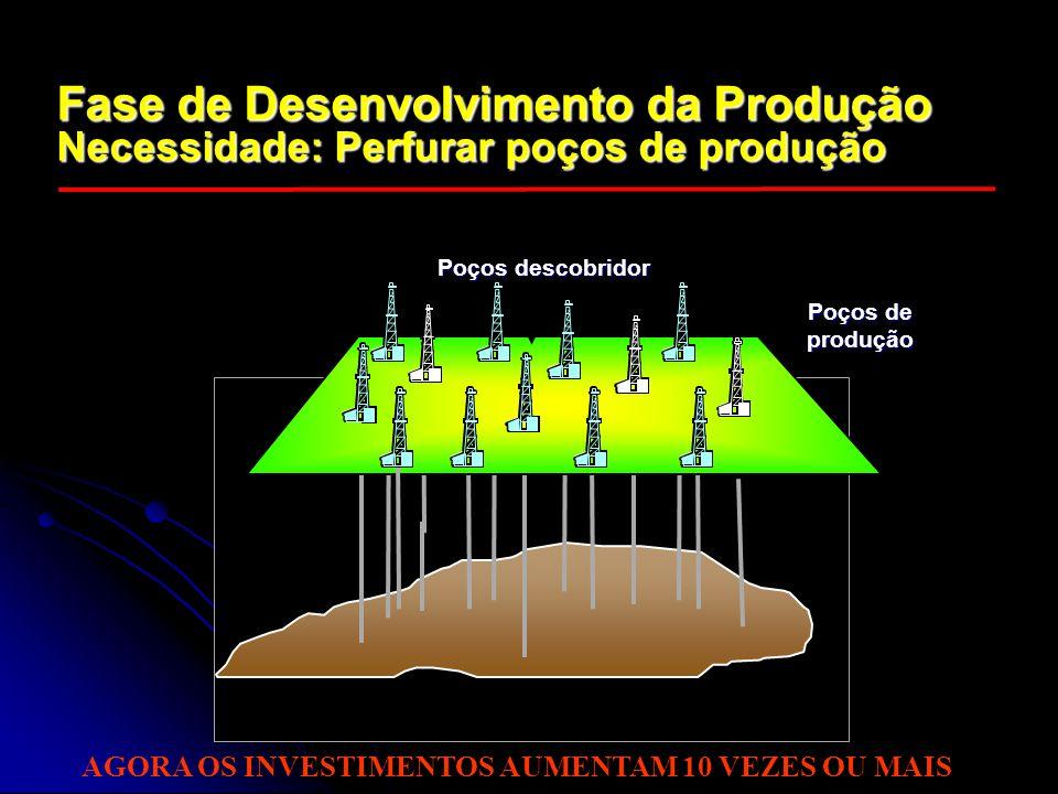 Fase de Desenvolvimento da Produção Necessidade: Perfurar poços de produção Poços de produção Poços descobridor AGORA OS INVESTIMENTOS AUMENTAM 10 VEZ
