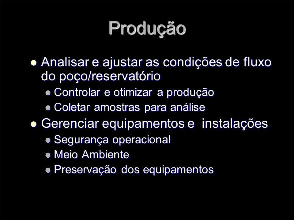 Produção Analisar e ajustar as condições de fluxo do poço/reservatório Analisar e ajustar as condições de fluxo do poço/reservatório Controlar e otimi