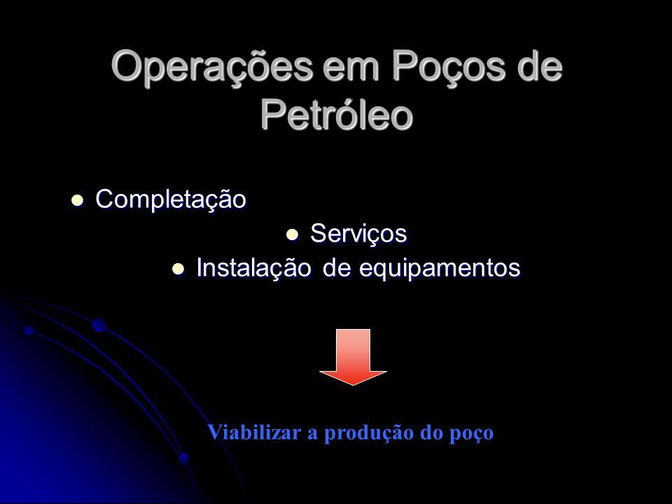 Operações em Poços de Petróleo Completação Completação Serviços Serviços Instalação de equipamentos Instalação de equipamentos Viabilizar a produção d